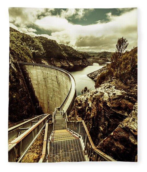 Vibrant River Dam Fleece Blanket
