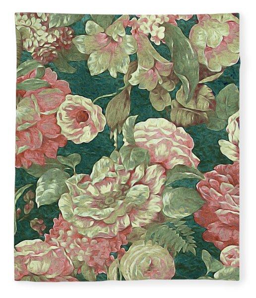 Fleece Blanket featuring the mixed media Victorian Garden by Susan Maxwell Schmidt