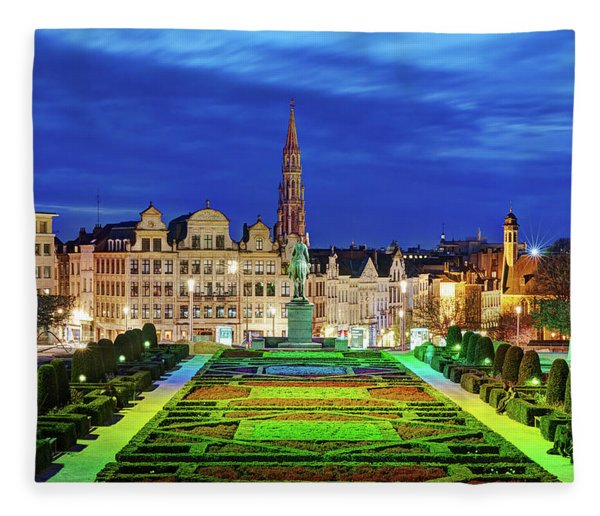 Fleece Blanket featuring the photograph View Of Brussels From Jardin Du Mont Des Arts by Barry O Carroll