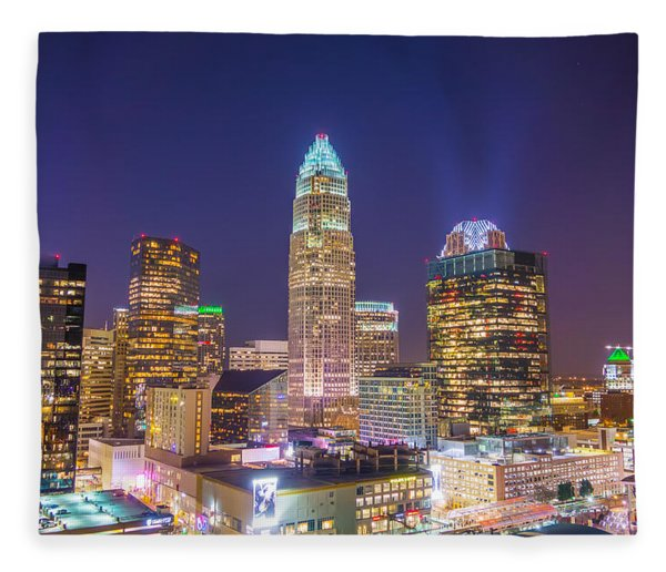 Fleece Blanket featuring the photograph View Of Charlotte Skyline Aerial At Sunset by Alex Grichenko