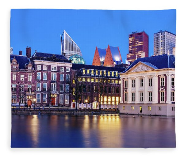 Fleece Blanket featuring the photograph View Of Mauritshuis And The Hofvijver - The Hague by Barry O Carroll
