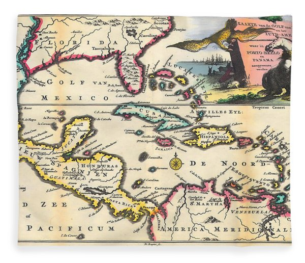 Vintage 1747 Gulf Of Mexico Map Fleece Blanket