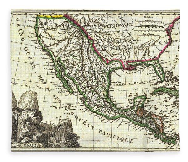 Vintage 1810 Map Of Mexico Texas And California Fleece Blanket