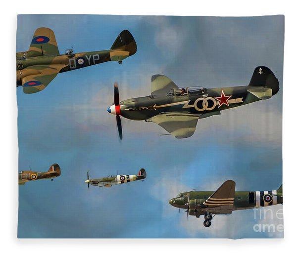 Vintage Aircraft Fleece Blanket
