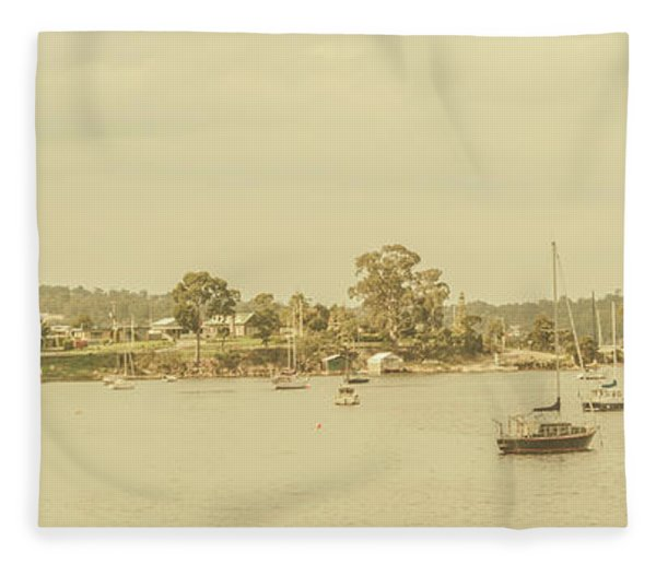 Vintage Dover Harbour Tasmania Fleece Blanket