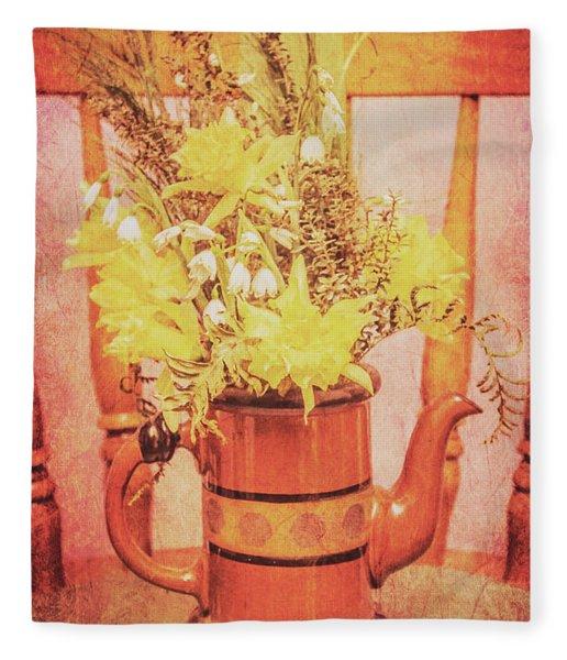 Vintage Fine Art Still Life With Daffodils Fleece Blanket