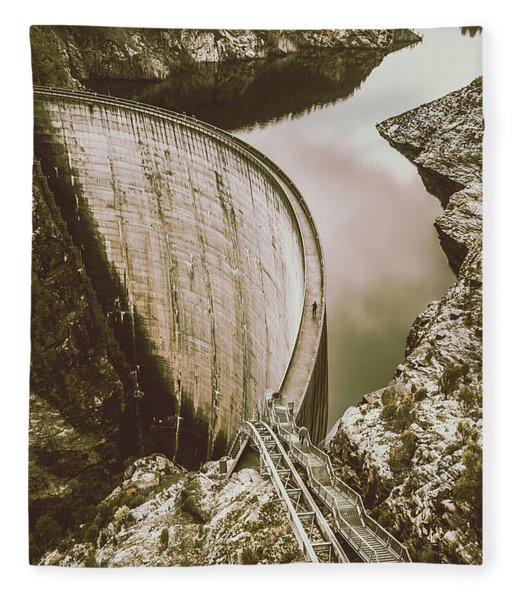Vintage Hydro-electric Dam Fleece Blanket