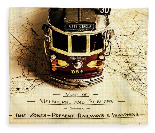 Vintage Railways And Tramways Fleece Blanket