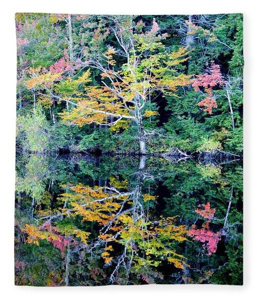 Vivid Fall Reflection Fleece Blanket