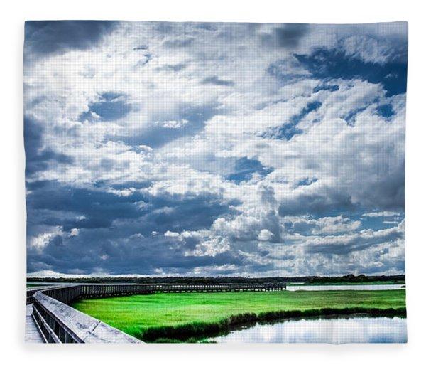 Walk With Me In The Sky Fleece Blanket