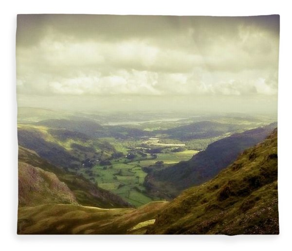 Walking In The Mountains, Lake District, Fleece Blanket