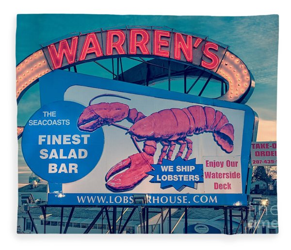 Warrens Lobster House Neon Sign Kittery Maine Fleece Blanket