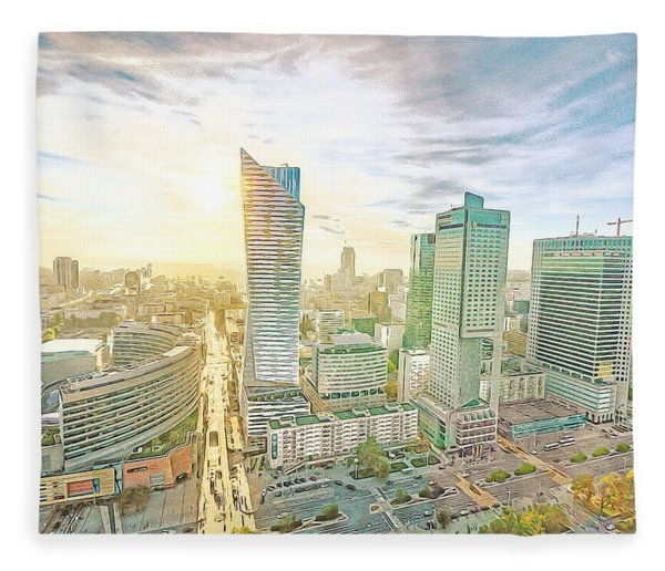 Warsaw Poland Skyline Fleece Blanket