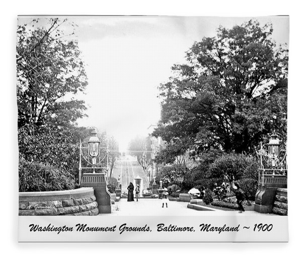Washington Monument Grounds Baltimore 1900 Vintage Photograph Fleece Blanket