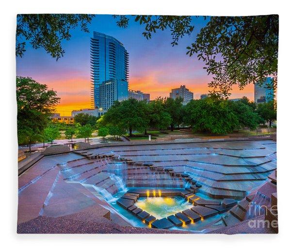 Water Gardens Sunset Fleece Blanket