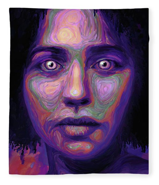Fleece Blanket featuring the digital art We Fem by Matt Lindley