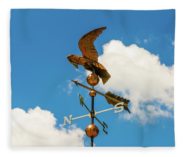 Weather Vane On Blue Sky Fleece Blanket