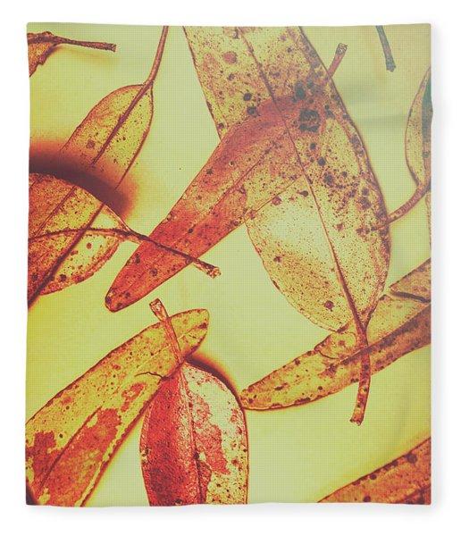 Weathered Autumn Leaves Fleece Blanket