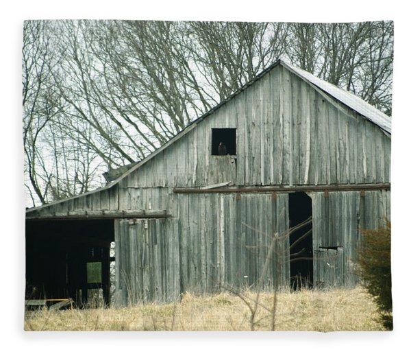 Weathered Barn In Winter Fleece Blanket