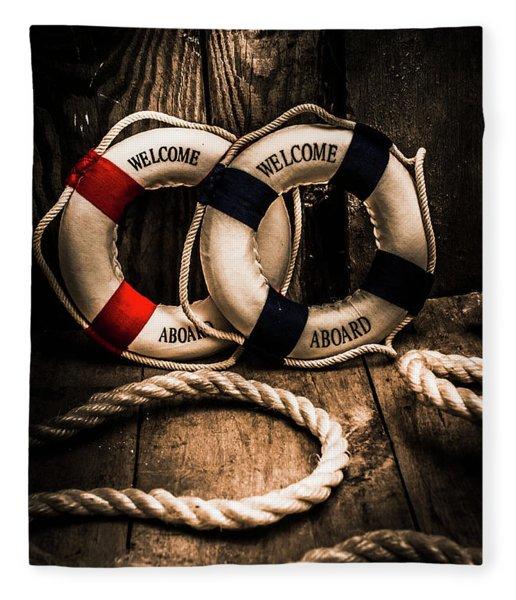 Welcome Aboard The Dark Cruise Line Fleece Blanket