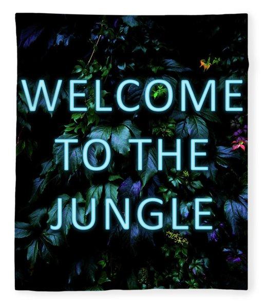 Welcome To The Jungle - Neon Typography Fleece Blanket