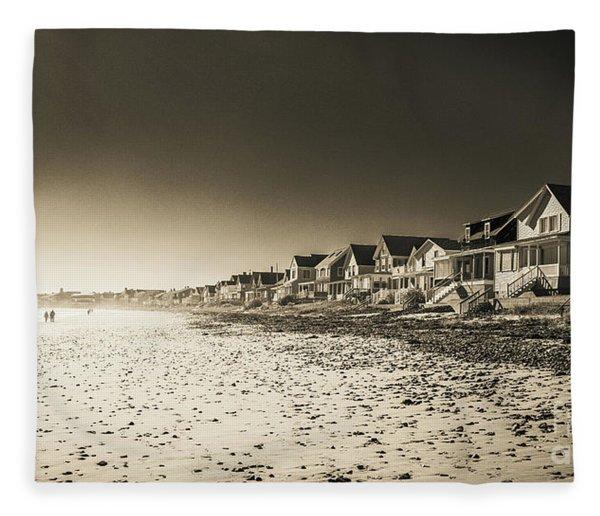 Wells Beach Maine Infrared Fleece Blanket