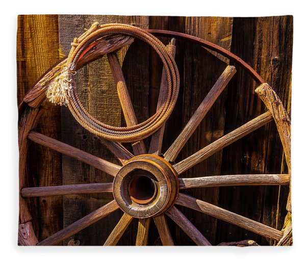 Western Rope And Wooden Wheel Fleece Blanket