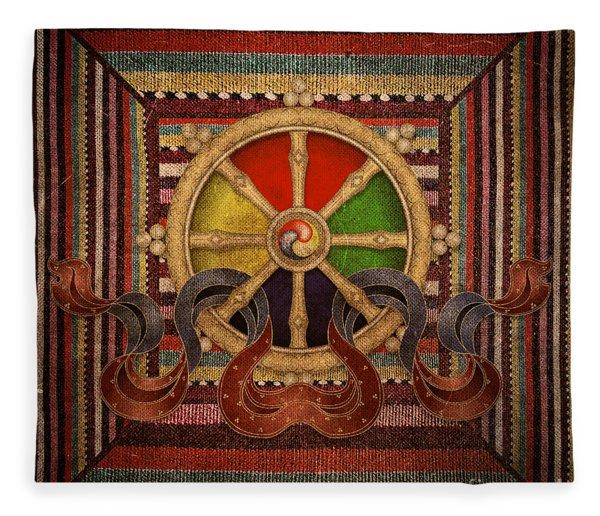Wheel Of The Dharma Fleece Blanket
