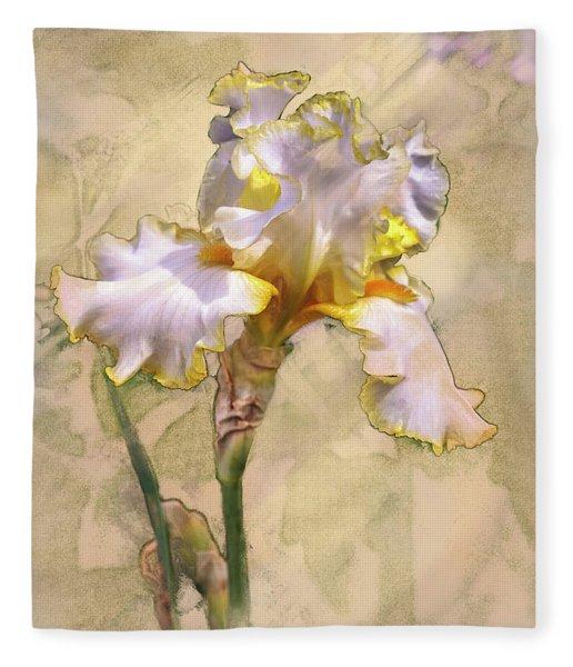 White And Yellow Iris Fleece Blanket