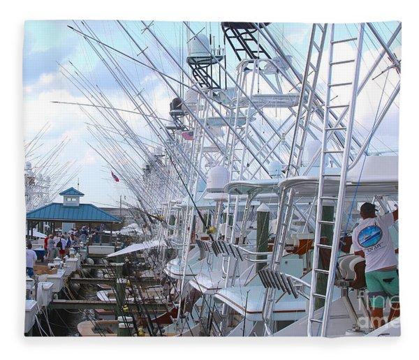 White Marlin Open Docks Fleece Blanket