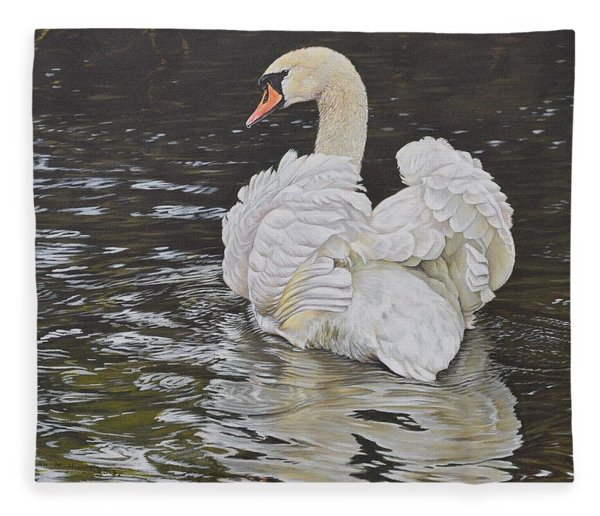 Fleece Blanket featuring the painting White Swan by Alan M Hunt
