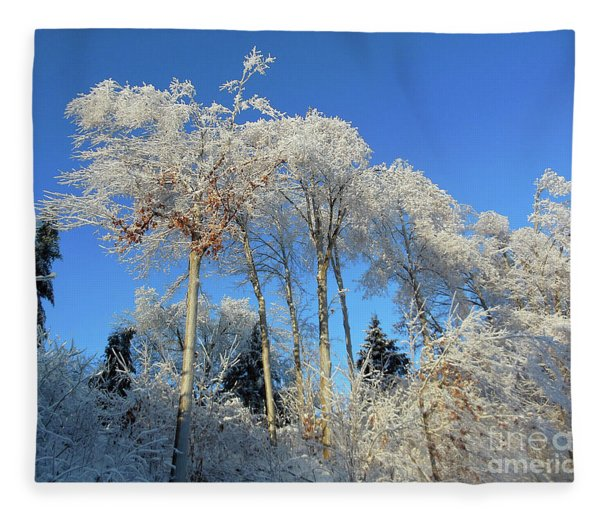 White Trees Clear Skies Fleece Blanket
