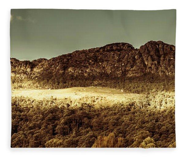 Wild West Mountain Panorama Fleece Blanket