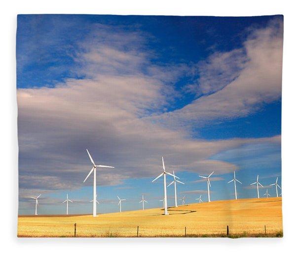 Wind Farm Against The Sky Fleece Blanket