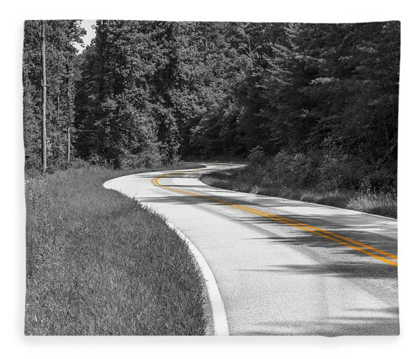 Winding Country Road In Selective Color Fleece Blanket
