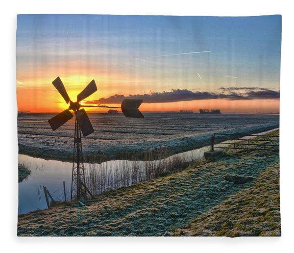 Windmill At Sunrise Fleece Blanket
