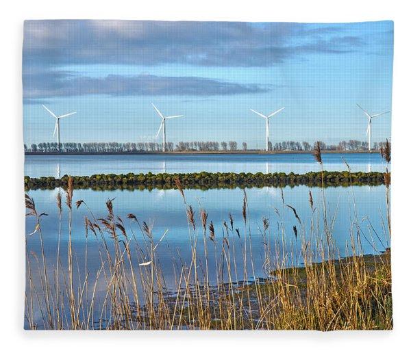 Windmills On A Windless Morning Fleece Blanket