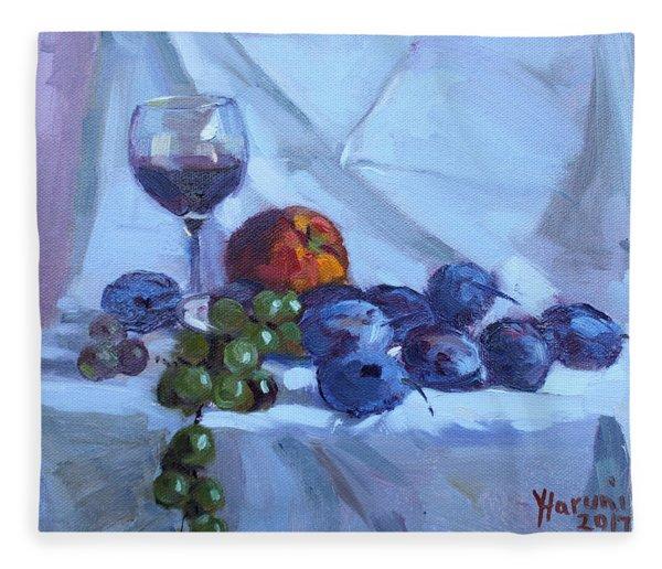 Wine And Fresh Fruits Fleece Blanket
