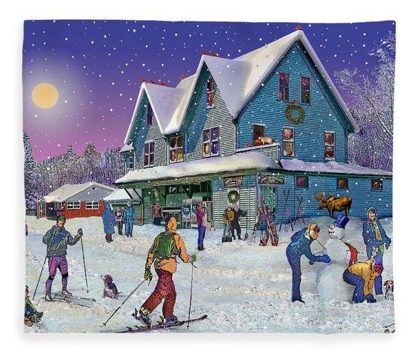 Winter In Campton Village Fleece Blanket