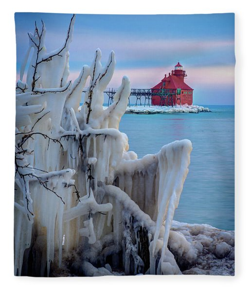 Winter Lighthouse Fleece Blanket