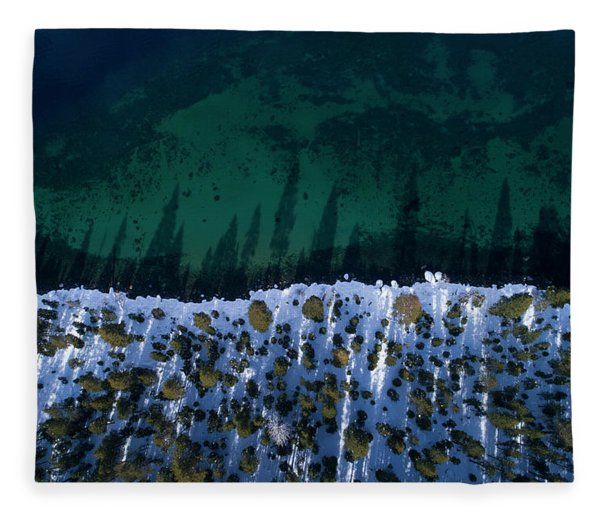 Winter Shores Aerial Fleece Blanket