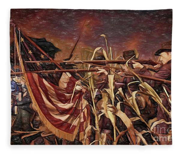 Wisconsin Black Hats At Antietam - Colored Pencil Fleece Blanket