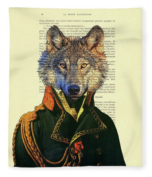 Wolf Portrait Illustration Fleece Blanket