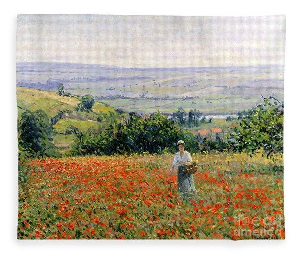 Woman In A Poppy Field Fleece Blanket