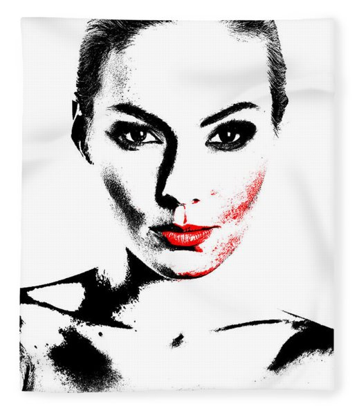 Woman Portrait In Art Look Fleece Blanket