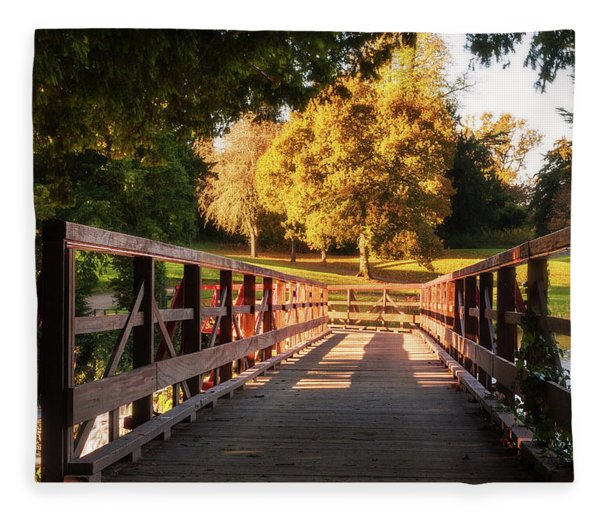 Fleece Blanket featuring the photograph Wooden Bridge On The Rye Water - Maynooth, Ireland by Barry O Carroll