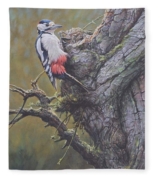 Fleece Blanket featuring the painting Woodpecker On Tree by Alan M Hunt