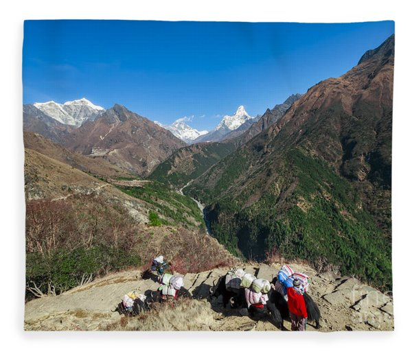 Yaks On The Route To Everest Fleece Blanket