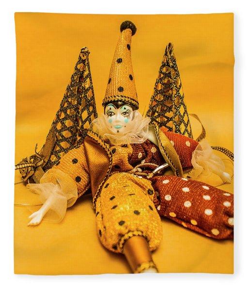 Yellow Carnival Clown Doll Fleece Blanket