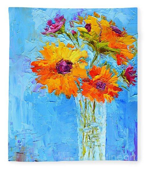 Yellow Daisies Flowers - Peonies In A Vase - Modern Impressionist Knife Palette Oil Painting Fleece Blanket